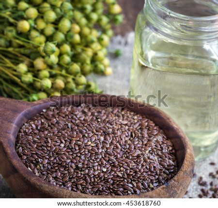 Flax and linseed oil - stock photo