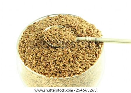 flax seed closeup in pure white background