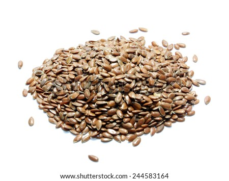 Flax seeds isolated on white - stock photo