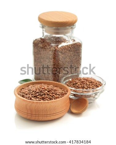 flax seeds isolated on white background - stock photo