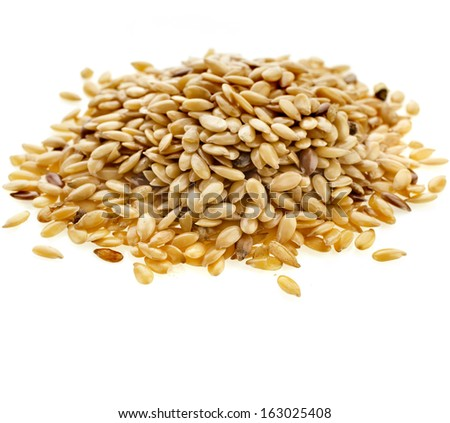 Flax seeds, Linseed, Lin seeds close-up  isolated on white background  - stock photo