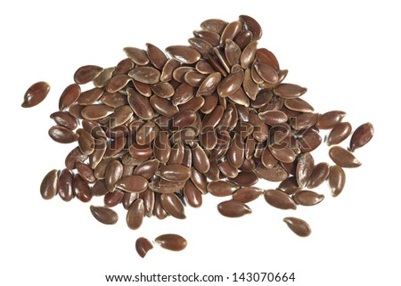 Flax seeds - Linum usitatissimum isolated on white - stock photo