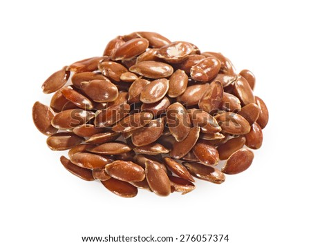 Flax seeds on a white background - stock photo