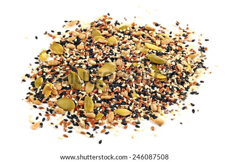Flax seeds, sunflower seeds, sesame, chia and pumpkin seeds, isolated on white background - stock photo