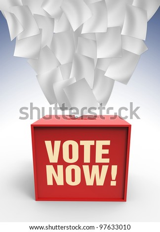 Flaying paper over voting box ilustrated in 3 dimension - stock photo