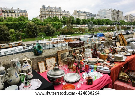 Flea market  at embankment of  Bassin de l'Arsenal near Place de la Bastille. Paris (France). - stock photo