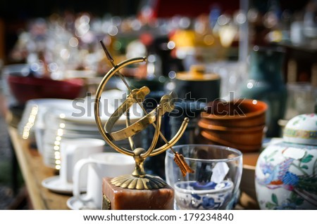 Flea market, globe - stock photo