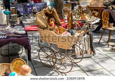Flea market on the of Square in Strasburg. France, Alsace  - stock photo