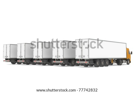Fleet of Trucks, Rear view. Part of Warehouse and Logistics Series - stock photo