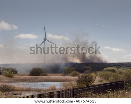 Fleetwood, Lancashire, UK. April 17th 2016. Heavy acrid smoke and polution caused by the Plastic waste fire at Fleetwood on Saturday