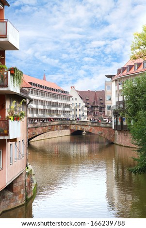 Fleisch Bridge or Meat Bridge or Fleisch Brucke over the river Pegnitz, the oldest bridge in Nuremberg, Franconia, Bavaria, Germany.