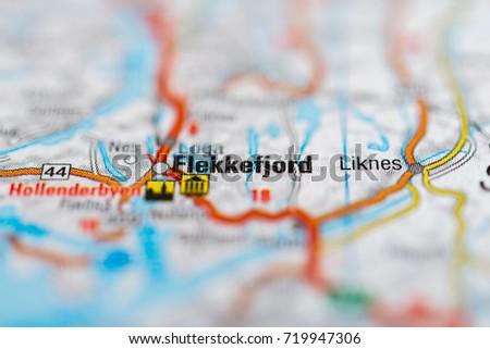 Flekkefjord On Map Stock Photo 719947306 Shutterstock