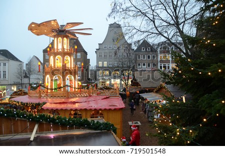 Flensburg, Germany - December 16, 2016: Christmas market in Flensburg.