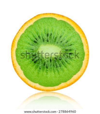 Flesh kiwi cut ripe orange isolated on white background - stock photo