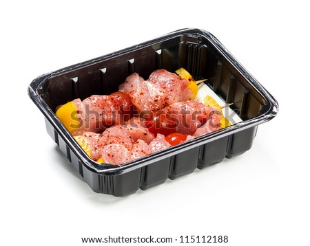 Flesh meat product for cooking packed in box isolated on white - stock photo