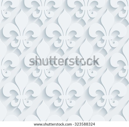 Fleur de lys pattern.  White perforated paper with cut out effect. Abstract 3d seamless background.  - stock photo