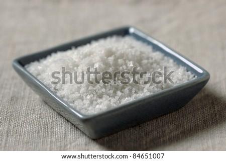 Fleur de sel sea salt from Camargue - stock photo