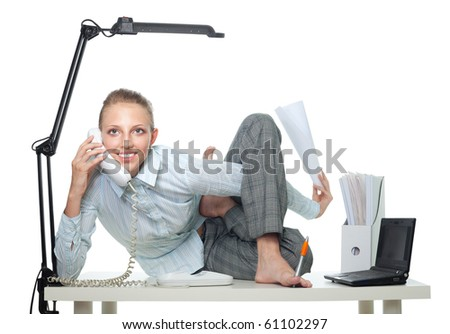 Flexible business woman talk by phone sitting in crooked pose and doing several things - stock photo