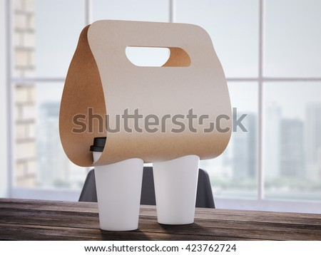 Flexible Coffee Holder on the wooden office table. 3d rendering