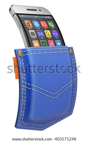 Flexible mobile with abstract icon set in blue jeans back pocket - 3D illustration - stock photo