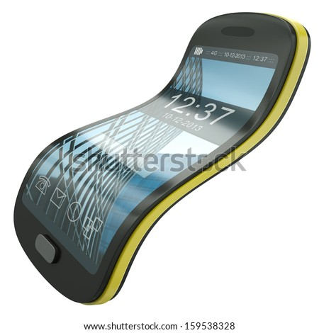 Flexible smartphone, concept illustration. The screen layout design, including icons and background - stock photo