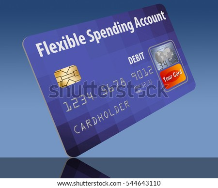 Flexible Spending Account debit card on a blue background. Card is generic mock version of a card linked to an employee's medical insurance flexible spending account (FSA).
