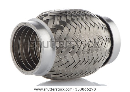 Flexible tube connection to the car exhaust system on white background. - stock photo