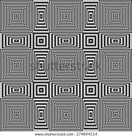 Flickering geometric optical illusion pattern with black and white stripes. Digitally generated abstract optical illusion with effect of shimmering and volume. - stock photo