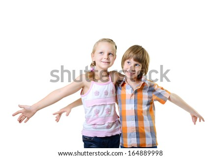 Fliers. Kids play and have fun together. Children playing fly over white background