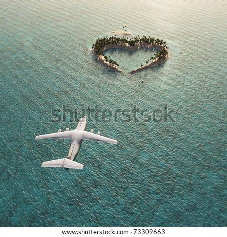 flight above heart-shaped tropical island - stock photo