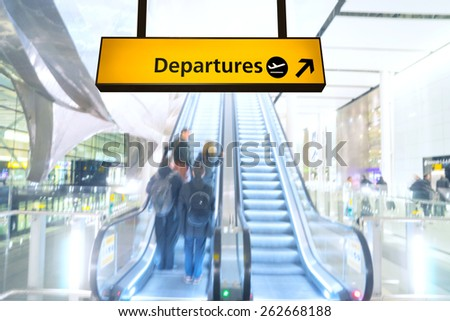 Flight, arrival and departure board at the airport - stock photo