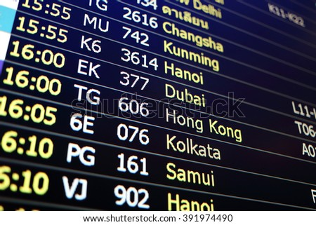 Flight board background of Changsha, Khunming, Hanoi, Dubai, Hongkong, Kolkata, Samui - stock photo