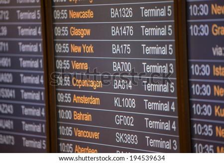 Flight board - Destination airports. - stock photo