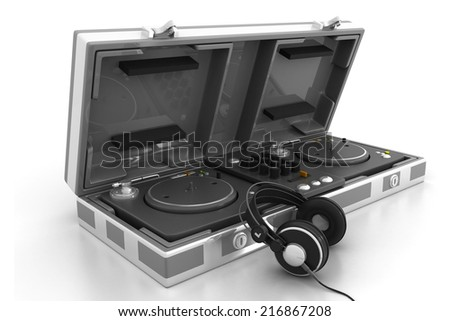 Flight Case and turntable with headphone  - stock photo