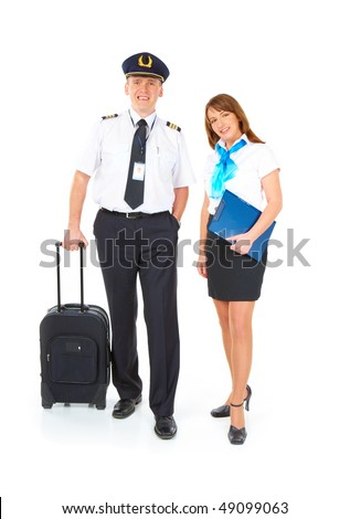 Flight crew. Cheerful pilot with trolley bag in hand and smiling flight attendant with documents wearing uniforms standing, isolated over white background - stock photo