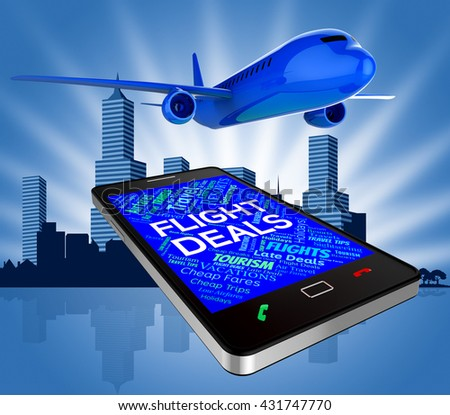 Flight Deals Meaning Reduction Flights And Fly 3d Rendering - stock photo