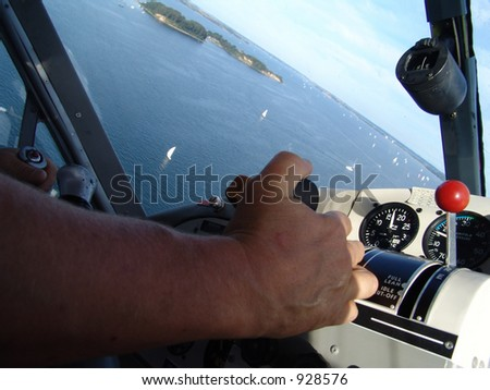 "flight in a waterplane, an old ""de havilland"", across a fjord"