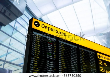 Flight information, arrival, departure at the airport, London, England - stock photo