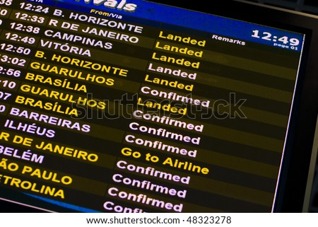 Flight information panel on the Brazil airport.