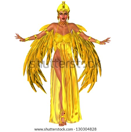 Flight Into Egyptian Fantasy. Adorned in a rich gold dress with golden wings, this Egyptian queen prepares to fly into the heart of the Pharaoh. Isolated on white. - stock photo