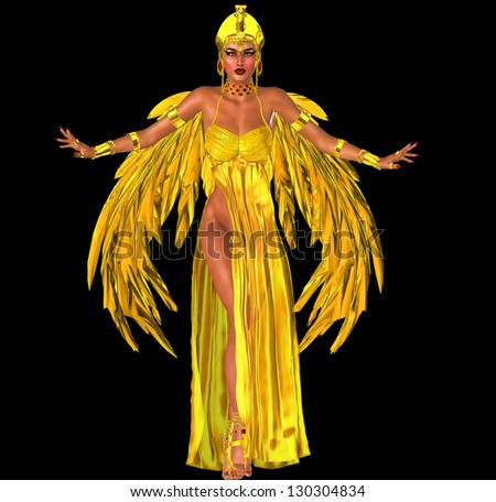 Flight Into Egyptian Fantasy. Adorned in a rich gold dress with golden wings; this Egyptian queen prepares to fly into the heart of the Pharaoh. Isolated on black. - stock photo