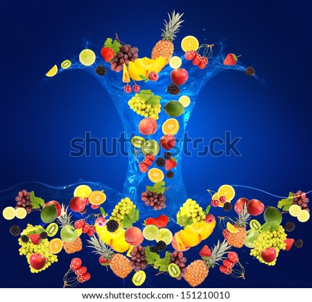 Flight of fruits and berries in water on blue background - stock photo