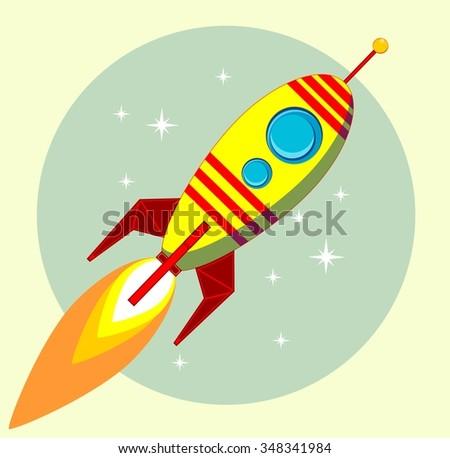 Flight of the Space Rocket, illustration - stock photo
