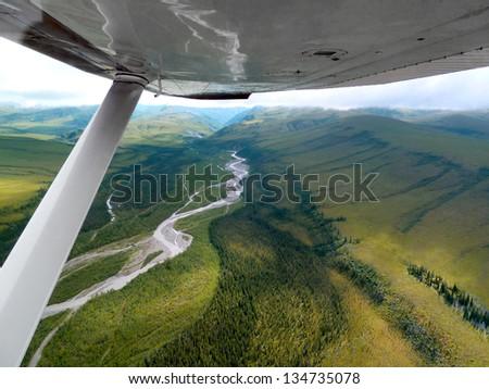 Flight over Denali National Park - stock photo