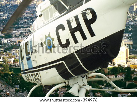 flight over the city in a chopper - stock photo