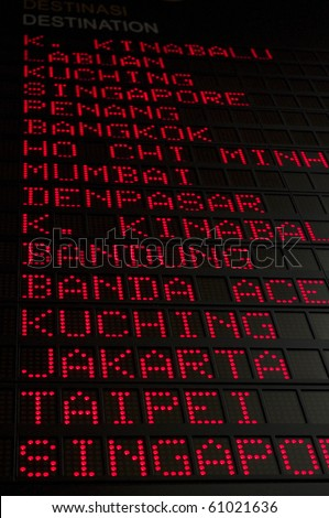 flight schedule in airport, destination such as Bangkok, Ho Chi Mnh city, Mumbai, Jakarta, Taipei and others can be seen.