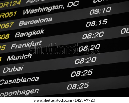 Flight Schedule on the airport, for traveling, tourism,traffic themes - stock photo