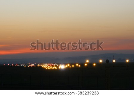 Landing strip night stock images royalty free images vectors flight security lights and landing strip in sunsed bakground mozeypictures Gallery