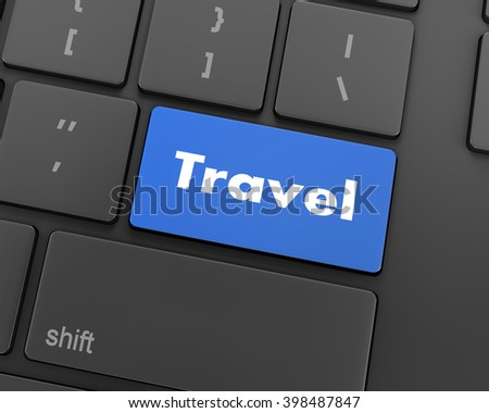 Flight sign in place of enter travel key, 3d rendering
