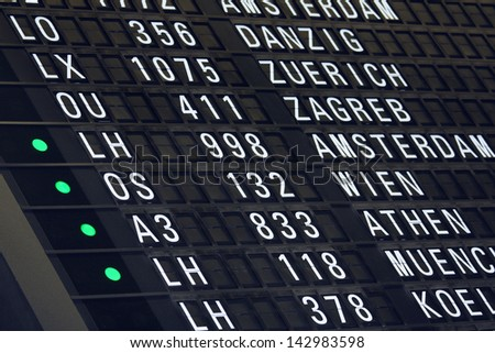 Flight timetable, schedule at the airport - stock photo